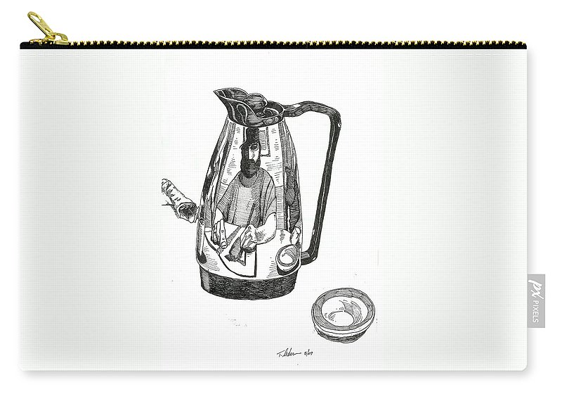 Pen And Ink Carry-all Pouch featuring the drawing Coffee Pot by Tobey Anderson
