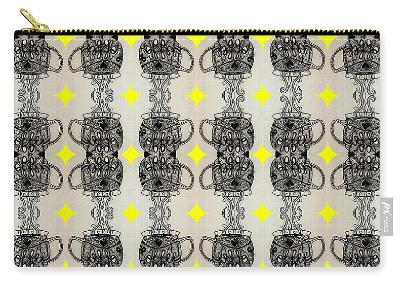 Coffee Carry-all Pouch featuring the digital art Coffee Time Patttern by Mastiff Studios