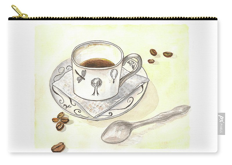 Coffee Carry-all Pouch featuring the painting Coffee by Yana Sadykova