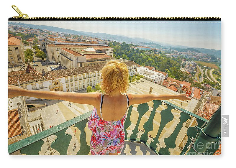 Coimbra Carry-all Pouch featuring the photograph Coimbra Aerial Woman by Benny Marty