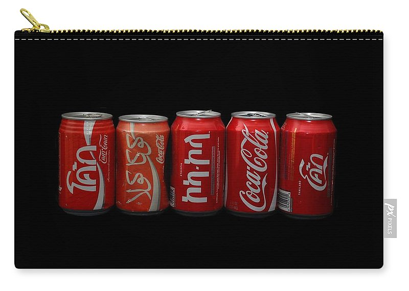 Red Carry-all Pouch featuring the photograph Coke Cans by Rob Hans