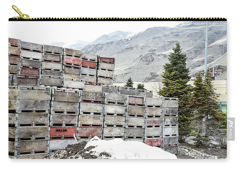 Cold Apple Crates Carry-all Pouch featuring the photograph Cold Apple Crates by Tom Cochran