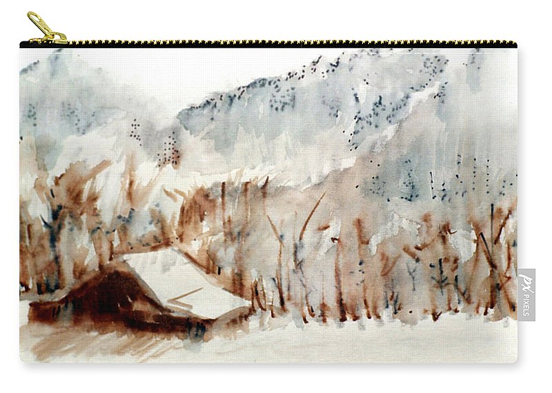Cold Cove Carry-all Pouch featuring the mixed media Cold Cove by Seth Weaver