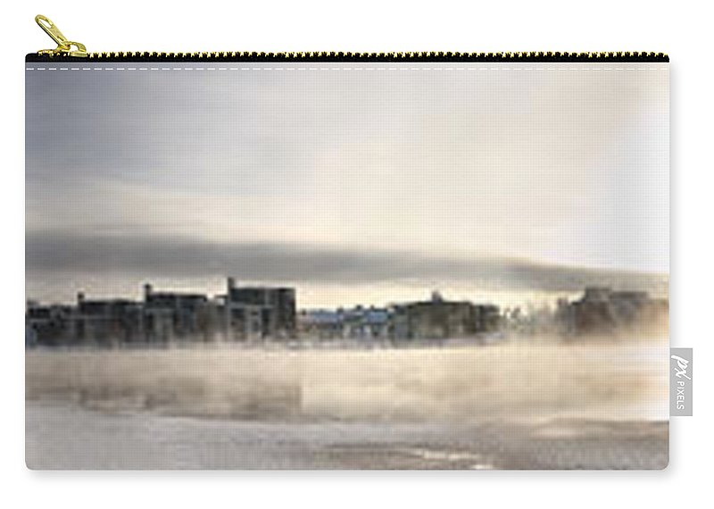 Panorama Carry-all Pouch featuring the photograph Cold Day Foggy River Panorama Oulu by Sandra Rugina