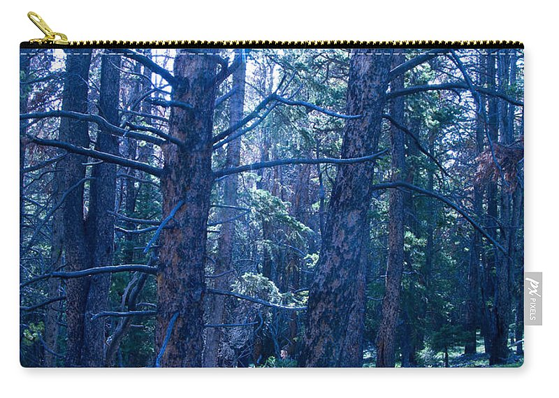 Blue Carry-all Pouch featuring the photograph Cold Mountain Light by Jeffery Ball