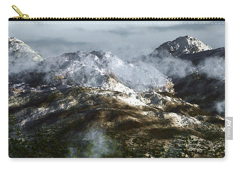 Mountains Carry-all Pouch featuring the digital art Cold Mountain by Richard Rizzo