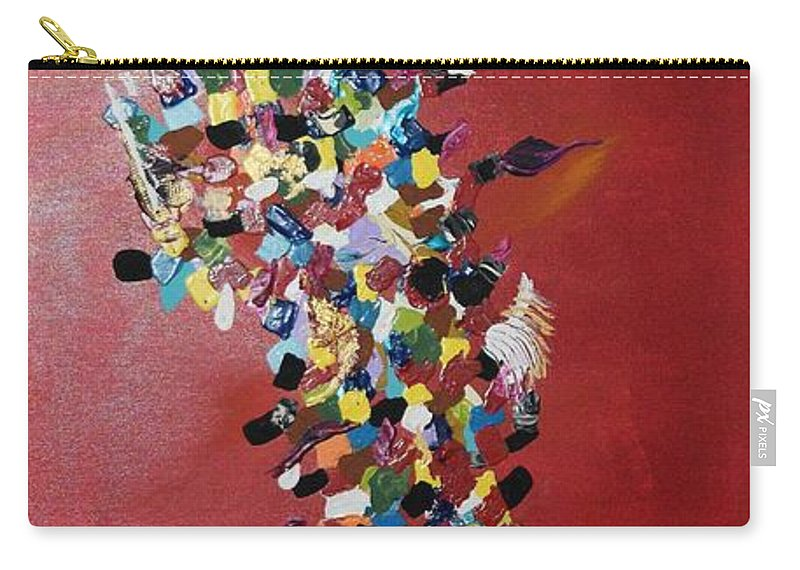 Art Nouveau Carry-all Pouch featuring the painting Collage Of Color by Maria Isabel Storniolo