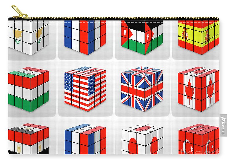 Cube Carry-all Pouch featuring the photograph Collage Of Flags Of Different Nation by Tomi Junger