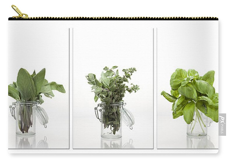 Thyme Carry-all Pouch featuring the photograph Collage Of Herbs In A Glass Jar by Wolfgang Steiner