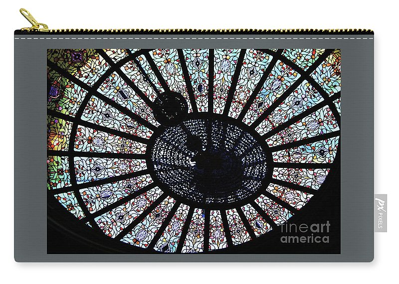 Stained Glass Art Garrett Jacobs Mansion Mt Vernon Place Surreal Baltimore Semi Abstract Indoors History Tiffany Creation Landmark Building Engineers Club Dome Metal Frame Canvas Print Poster Print Available On Shower Curtains T Shirts Mugs Tote Bags Greeting Cards Duvet Covers Pouches And Phone Cases Carry-all Pouch featuring the photograph Collectible Stained Glass Tiffany Dome by Marcus Dagan
