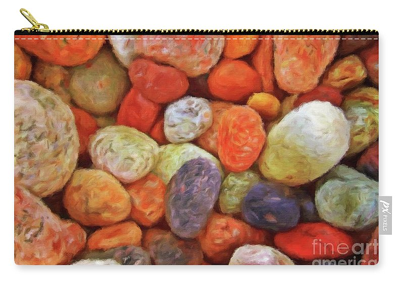 Sea Carry-all Pouch featuring the painting Collecting Pebbles by Sarah Kirk