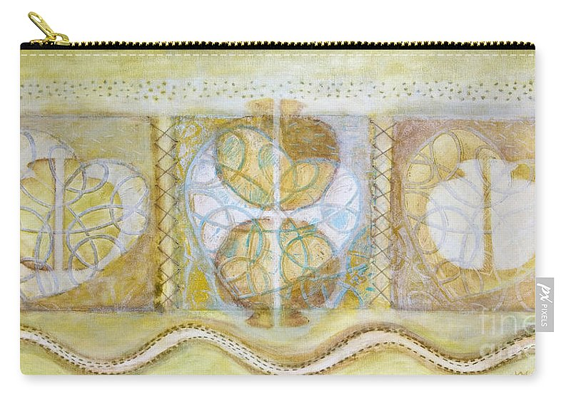 Symbolism Carry-all Pouch featuring the painting Collective Unconscious Three Equals One Equals Enlightenment by Kerryn Madsen- Pietsch