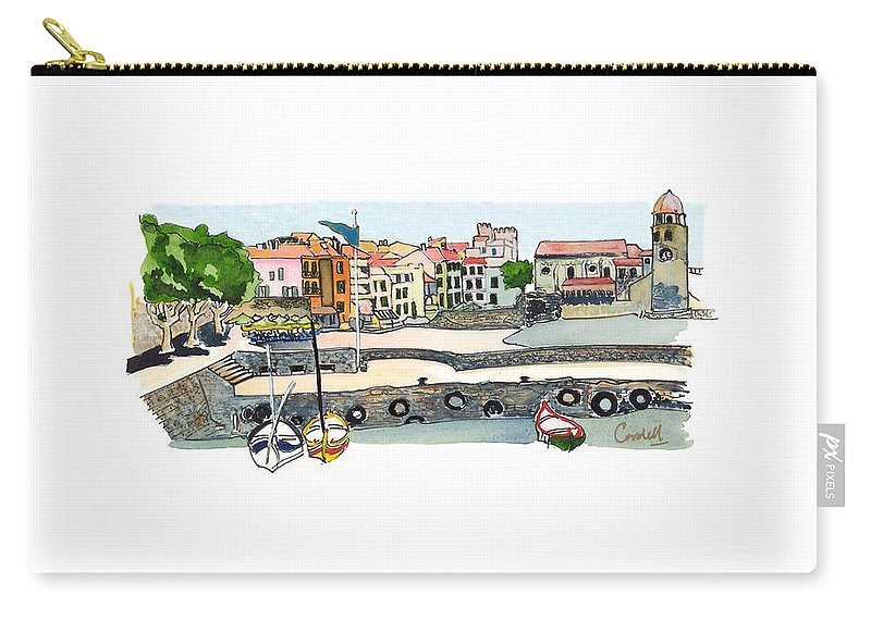 French Coastal Scenery Carry-all Pouch featuring the painting Collioure,  Cote De Vermeille by Joan Cordell