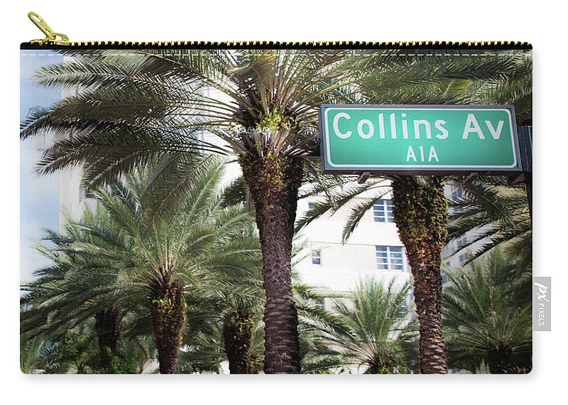 Collins Avenue Carry-all Pouch featuring the photograph Collins Av A1a by Karen Wiles