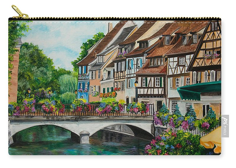 Colmar Carry-all Pouch featuring the painting Colmar In Full Bloom by Charlotte Blanchard