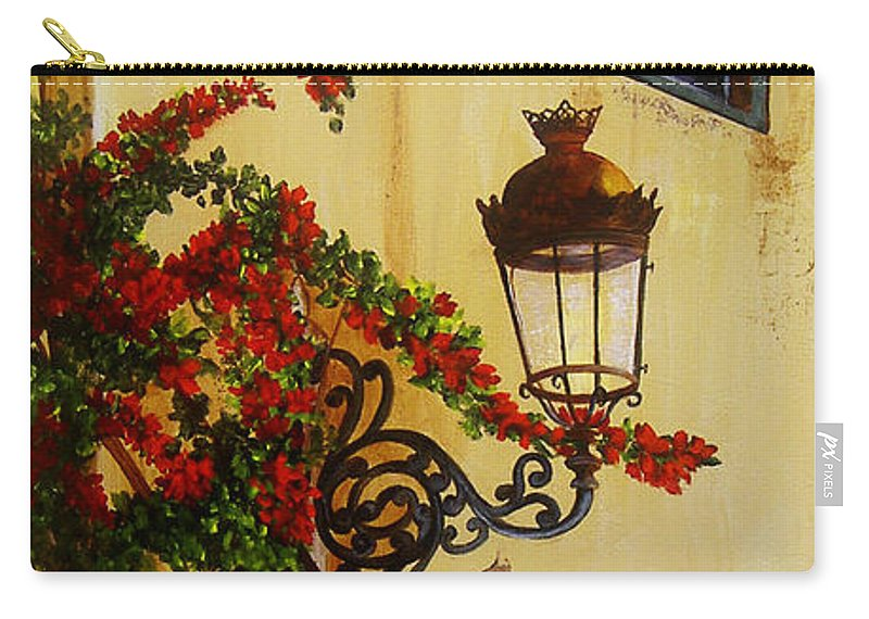 Cuban Painter Carry-all Pouch featuring the painting Colonial Corner by Dominica Alcantara