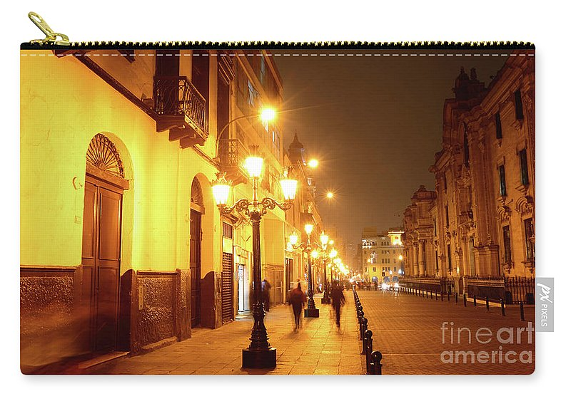 Peru Carry-all Pouch featuring the photograph Colonial Street In Central Lima At Night by James Brunker