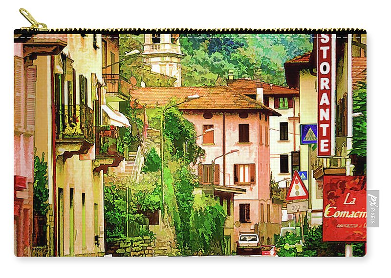Landscape Carry-all Pouch featuring the digital art Colonno.lake Como by Jennie Breeze