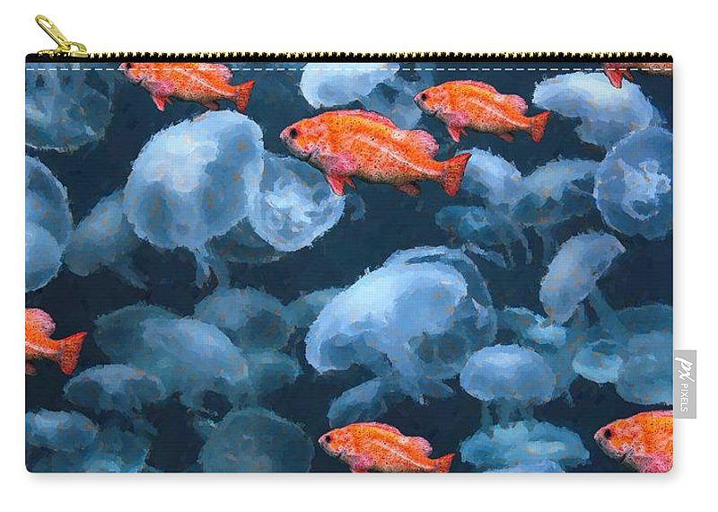 Fish Carry-all Pouch featuring the digital art Color And Colorless Fish by Ron Bissett