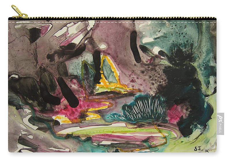 Abstract Carry-all Pouch featuring the painting Color Fever 136 by Seon-Jeong Kim