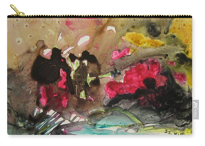 Abstract Paintings Carry-all Pouch featuring the painting Color Fever 140 by Seon-Jeong Kim
