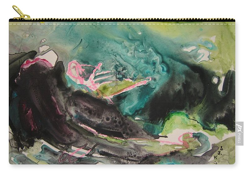 Abstract Paintings Carry-all Pouch featuring the painting Color Fever Series009 by Seon-Jeong Kim