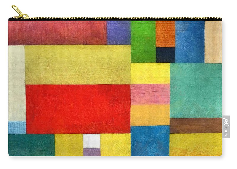 Textured Carry-all Pouch featuring the painting Color Panel Abstract With White Buttons by Michelle Calkins
