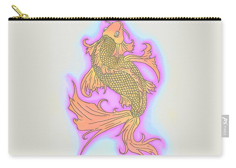 Justin W Moore Carry-all Pouch featuring the drawing Color Sketch Koi Fish by Justin Moore