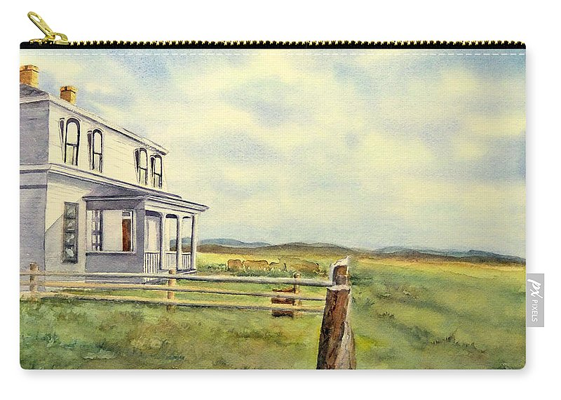 Watercolor Landscape Carry-all Pouch featuring the painting Colorado Ranch by Debbie Lewis