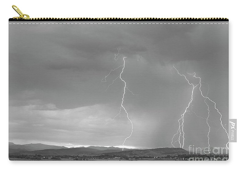 July Carry-all Pouch featuring the photograph Colorado Rocky Mountains Foothills Lightning Strikes 2 Bw by James BO Insogna
