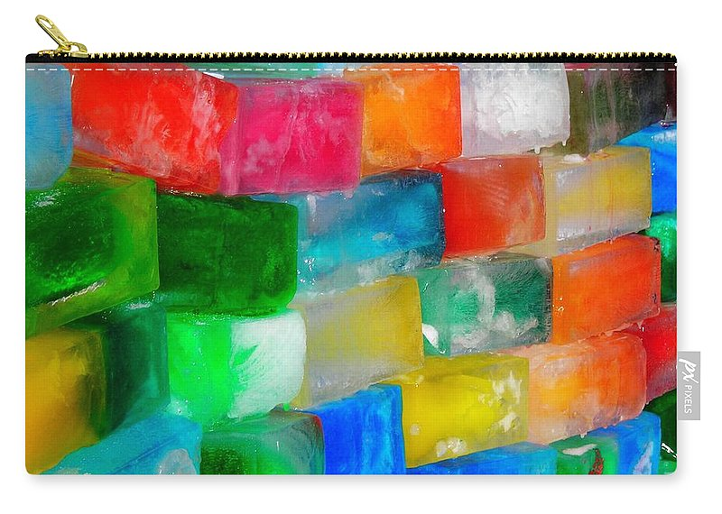 Wall Carry-all Pouch featuring the photograph Colored Ice Bricks by Juergen Weiss