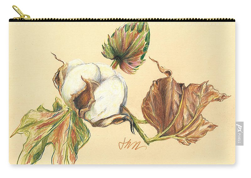 Graphite Pencil Drawing Carry-all Pouch featuring the drawing Colored Pencil Cotton Plant by Jacki Kellum