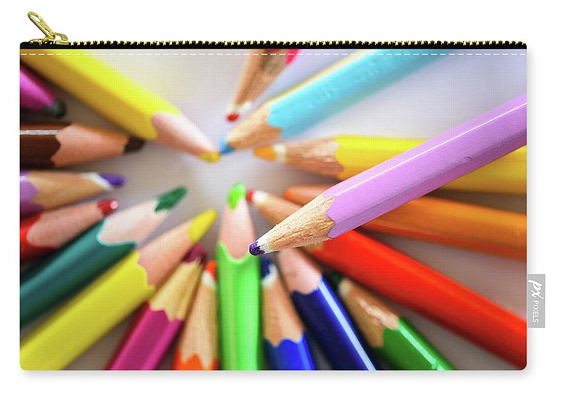 Background Carry-all Pouch featuring the photograph Colored Pencils by Nicola Simeoni