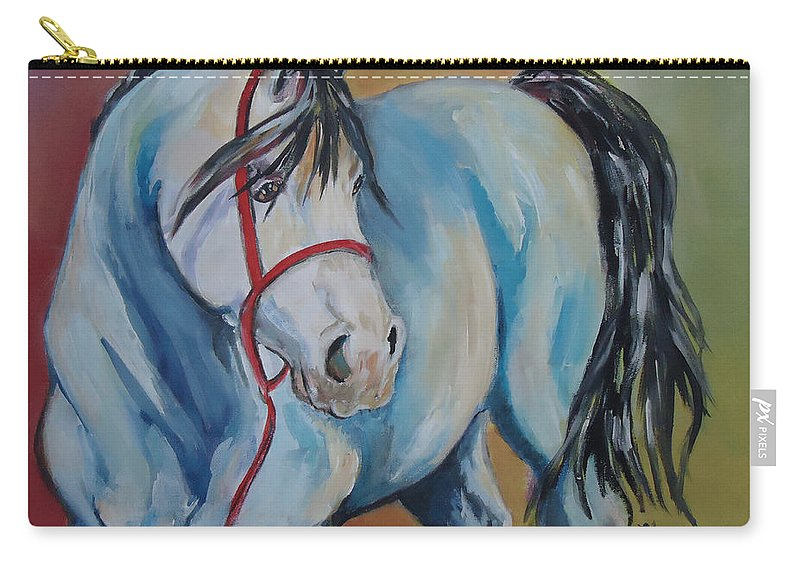 A Horse Of Many Colors. Horse Carry-all Pouch featuring the painting Colored Pony by Charme Curtin