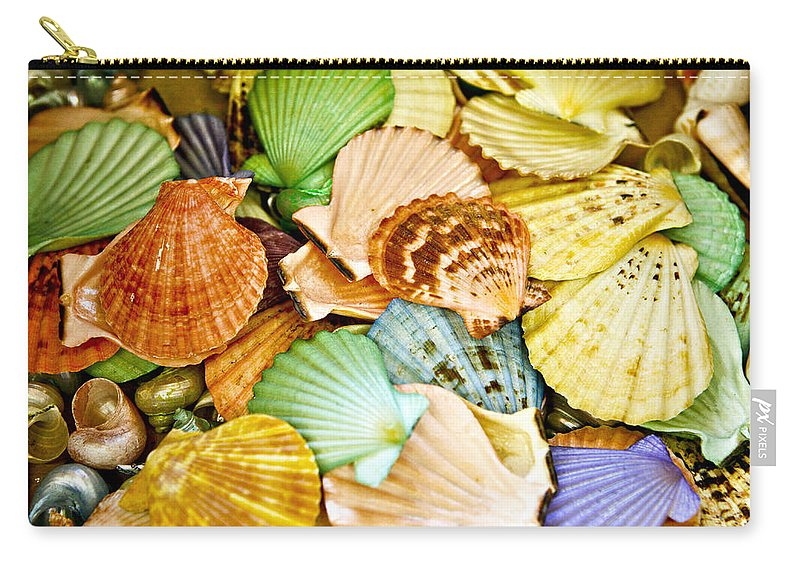 Shell Carry-all Pouch featuring the photograph Colored Shells by Marilyn Hunt