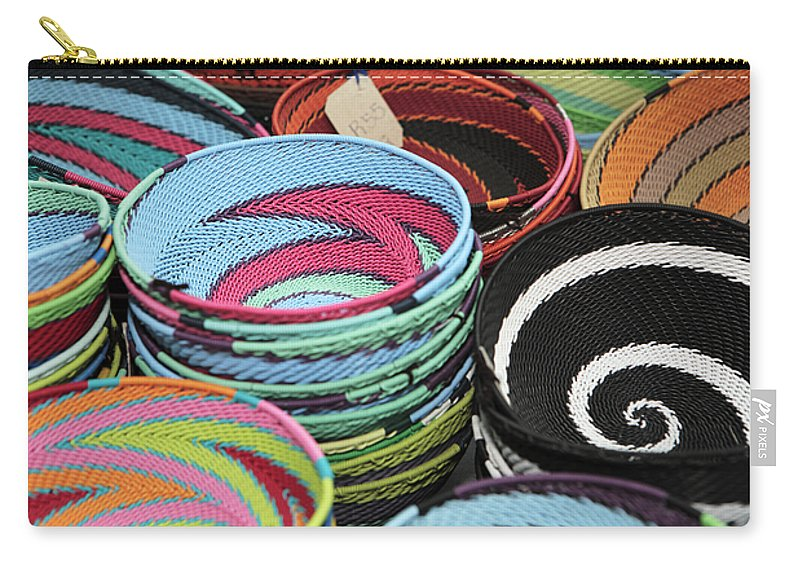 Africa Carry-all Pouch featuring the photograph Colorful African Wire Bowls by Neil Overy