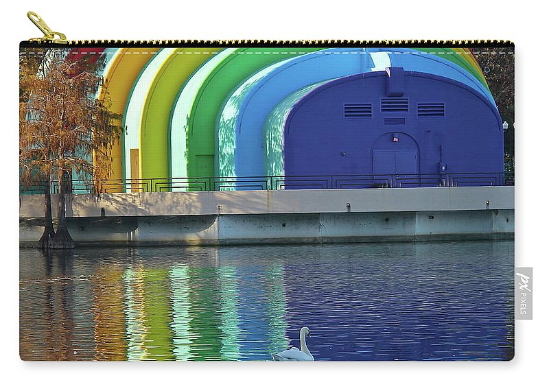 Band Shell Carry-all Pouch featuring the photograph Colorful Bandshell And Swan by Denise Mazzocco