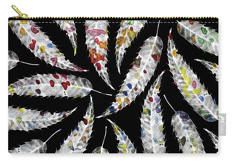 Leaves Carry-all Pouch featuring the photograph Colorful Black And White Leaves by Susanne Kasielke