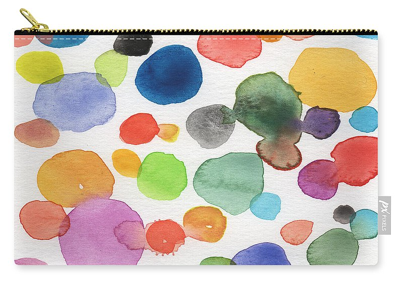 Abstract Watercolor Art Carry-all Pouch featuring the painting Colorful Bubbles by Linda Woods
