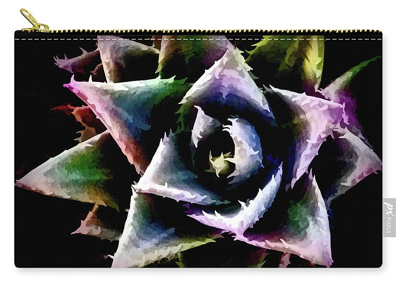 Cactus Carry-all Pouch featuring the digital art Colorful Cactus by Stevie Benintende