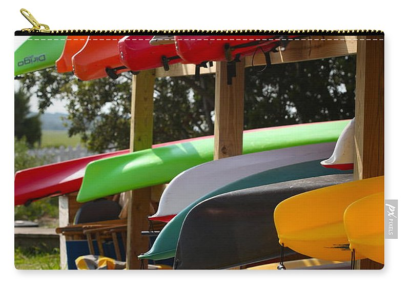 Canoes Carry-all Pouch featuring the photograph Colorful Canoes by Nadine Rippelmeyer