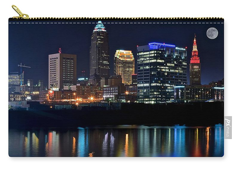 Cleveland Carry-all Pouch featuring the photograph Colorful Cleveland by Frozen in Time Fine Art Photography