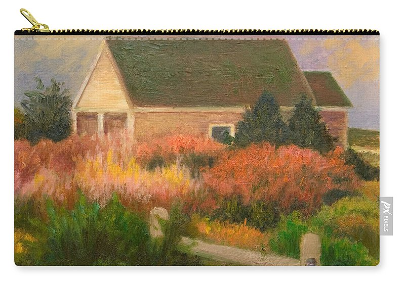 Cape Cod Carry-all Pouch featuring the painting Colorful Cottage Cape Cod by Phyllis Tarlow