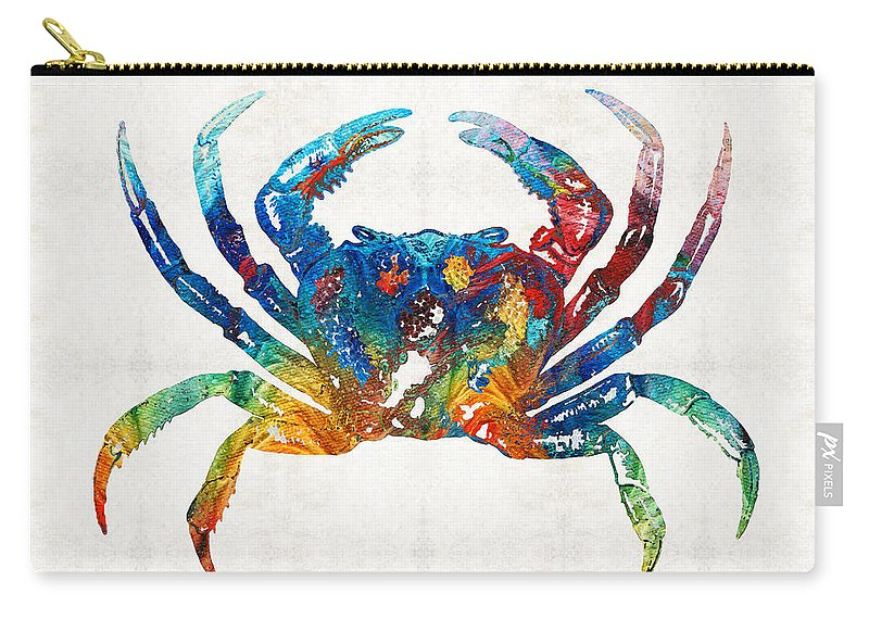 Crab Carry-all Pouch featuring the painting Colorful Crab Art By Sharon Cummings by Sharon Cummings