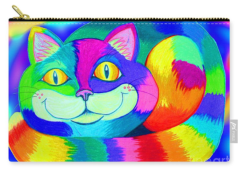 Cat Carry-all Pouch featuring the digital art Colorful Crazy Cat by Nick Gustafson