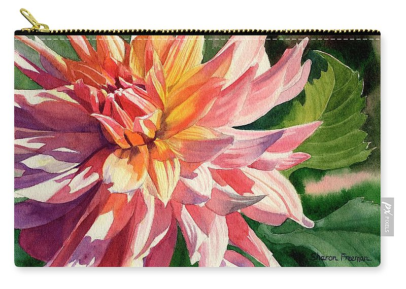 Floral Carry-all Pouch featuring the painting Colorful Dahlia by Sharon Freeman