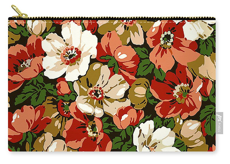 Colorful Carry-all Pouch featuring the digital art Colorful Floral Design by Long Shot