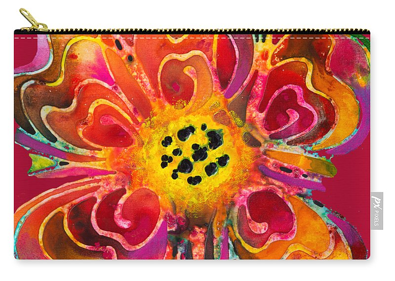 Colorful Carry-all Pouch featuring the painting Colorful Flower Art - Summer Love By Sharon Cummings by Sharon Cummings