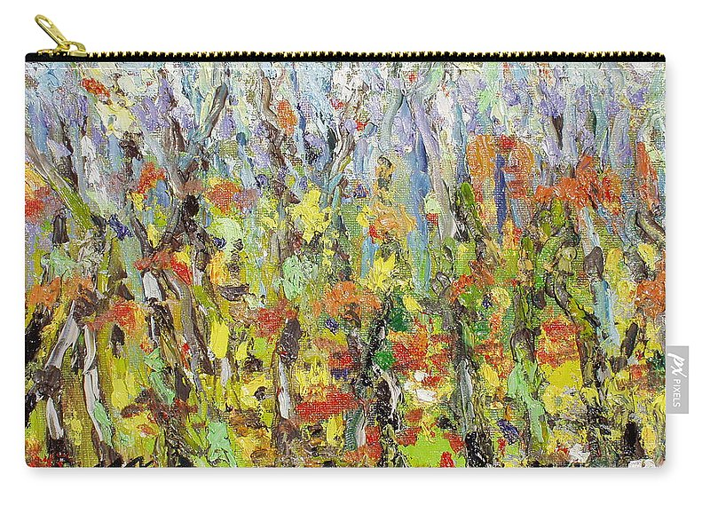 Autumn Abstract Paintings Carry-all Pouch featuring the painting Colorful Forest by Seon-Jeong Kim