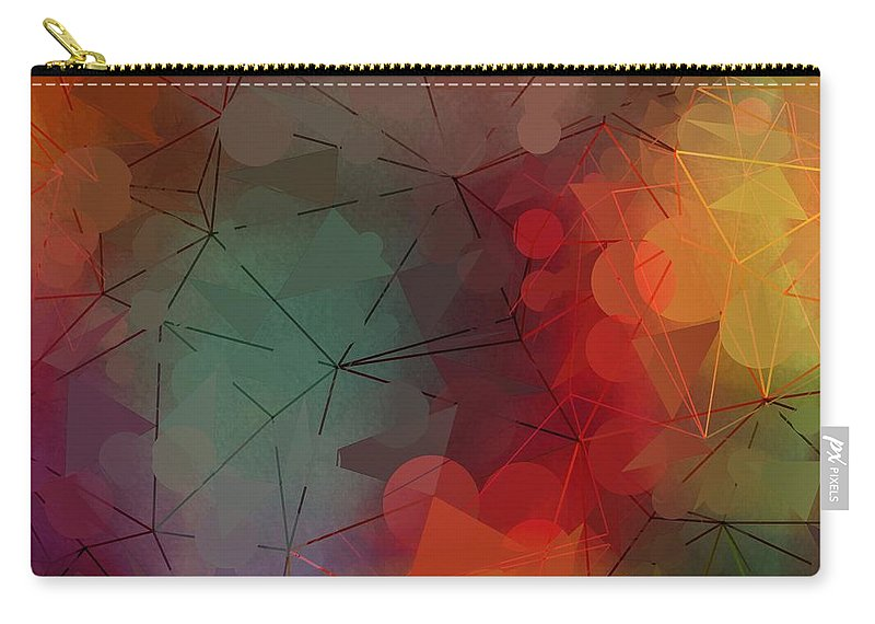 Multi Color Carry-all Pouch featuring the digital art Colorful Geometric Pattern Abstract Art by Sheila Wenzel